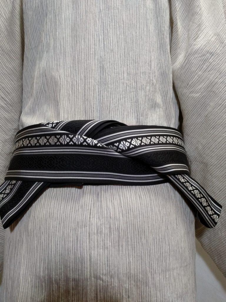 男の和服着物、男の帯結び 片ばさみ 和服着物