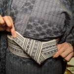 男の帯結び 貝の口 和服着物