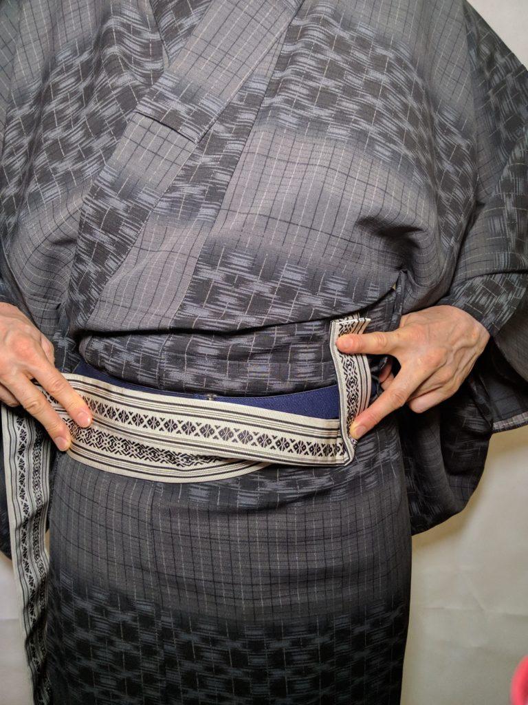 男の帯結び 角帯 和服着物