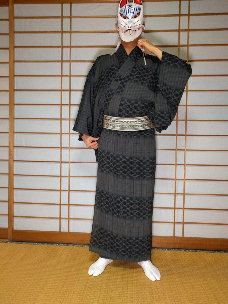 男の和服着物、衿元、直し方