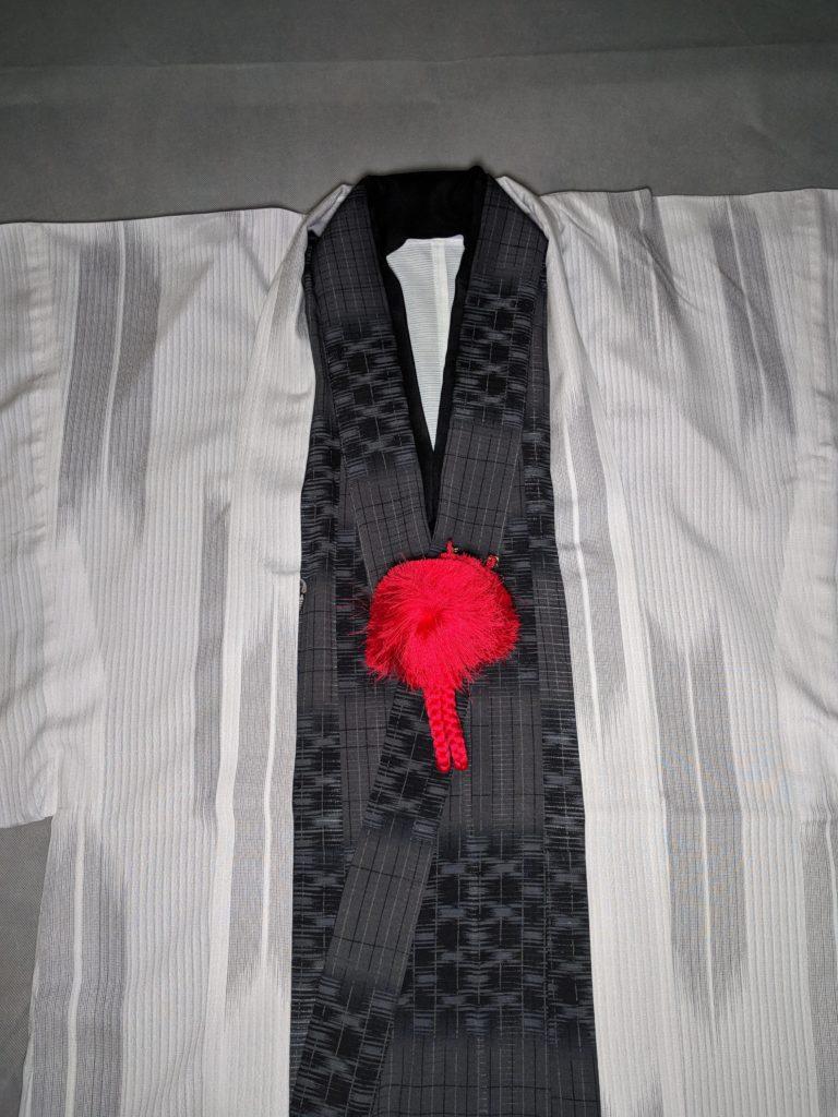 男の和服着物,モッズ,メンズ着物,和装,裏着物,羽織紐,関西風,狐面,太い,赤