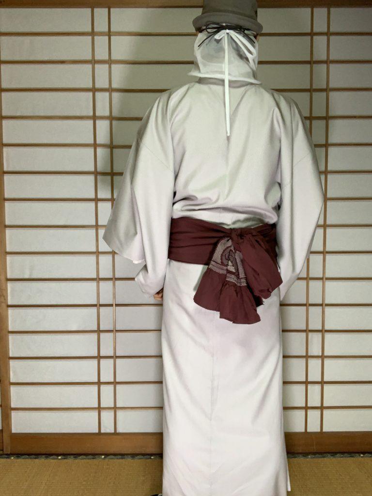 男の和服,メンズ着物,狐面,日本,裏着物,アンティーク,帯,兵児帯,