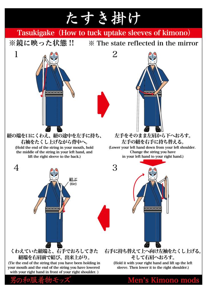 男の和服,モッズ,メンズ着物,和装,裏着物,日本,和,文化,狐面,たすき掛け,フィットネス