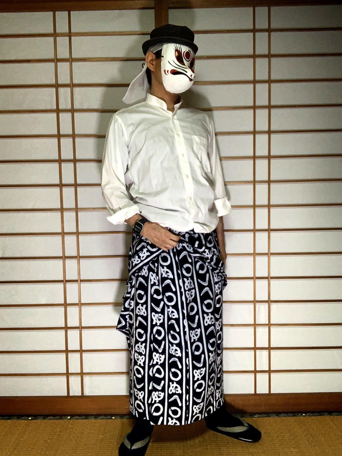 男の和服,メンズ着物,狐面,日本,裏着物,浴衣,和,文化,シャツ,浴衣
