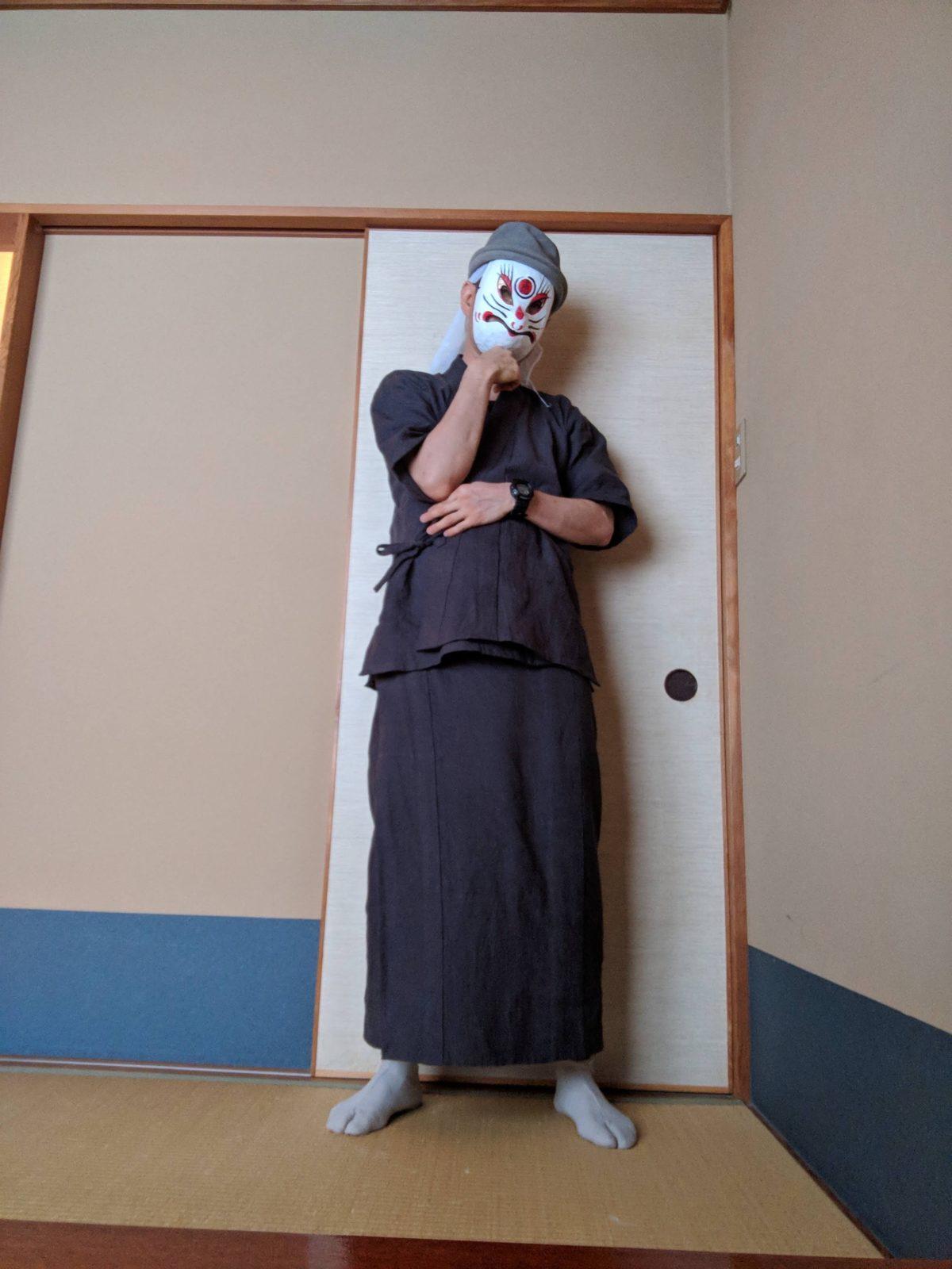 男の和服,メンズ着物,狐面,日本,裏着物,浴衣,和,文化,肌襦袢,裾除け