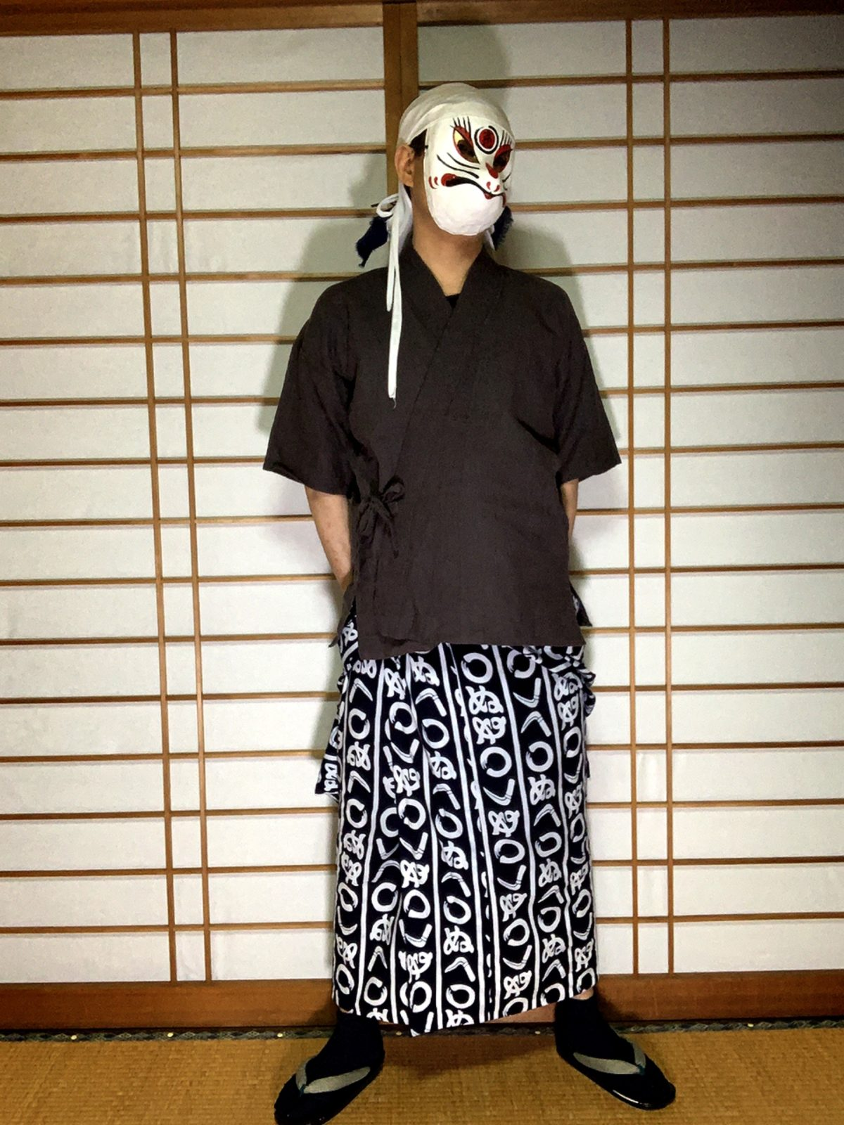 男の和服,メンズ着物,狐面,日本,裏着物,浴衣,和,文化,肌襦袢,