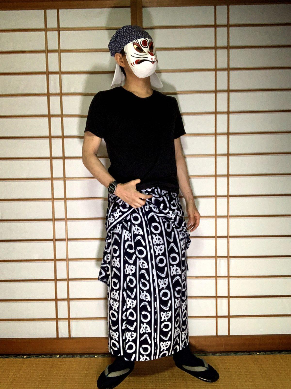 男の和服,メンズ着物,狐面,日本,裏着物,浴衣,和,文化,Tシャツ,