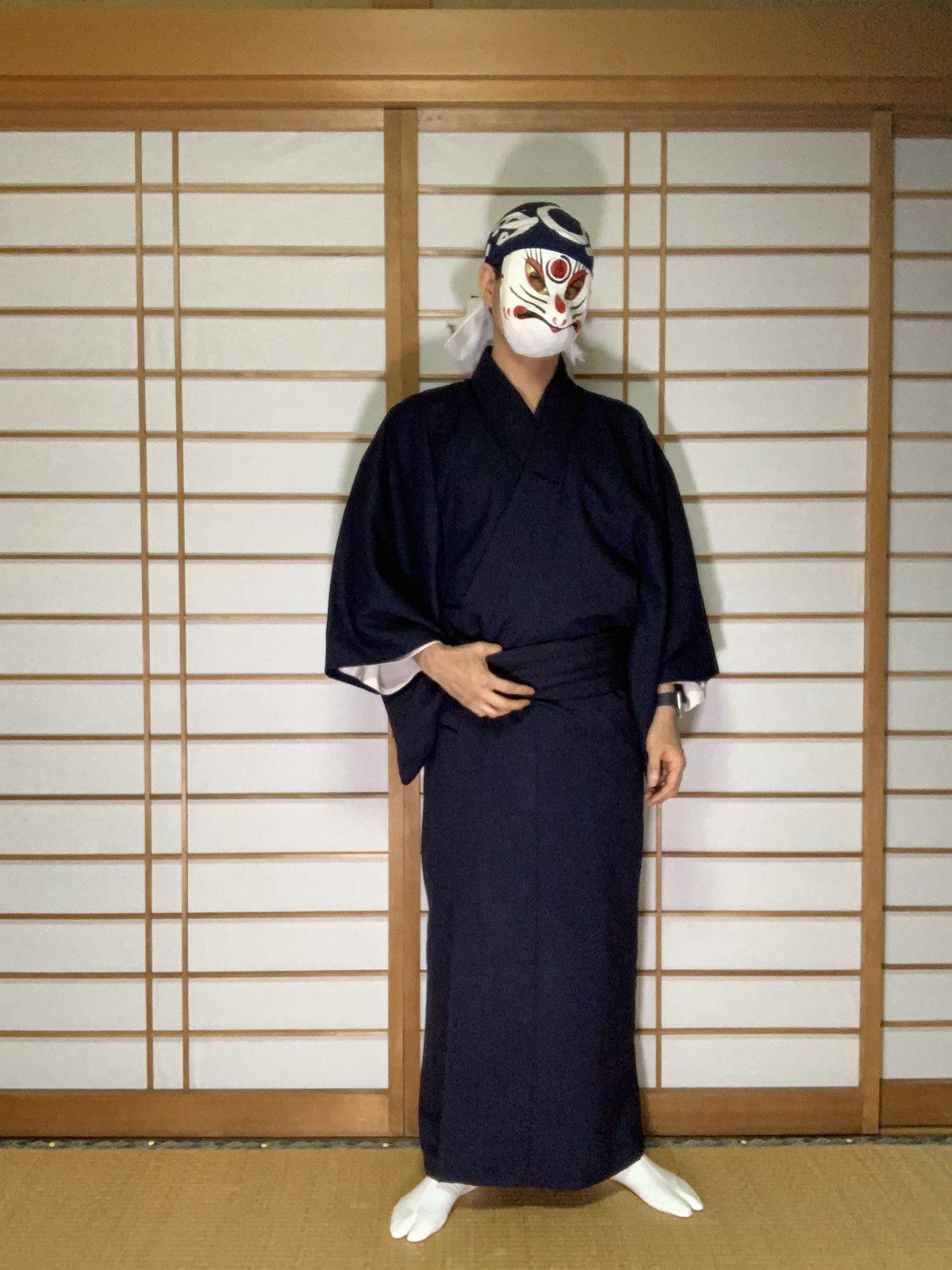 男の和服,メンズ着物,狐面,日本,裏着物,浴衣,和,文化,春秋,