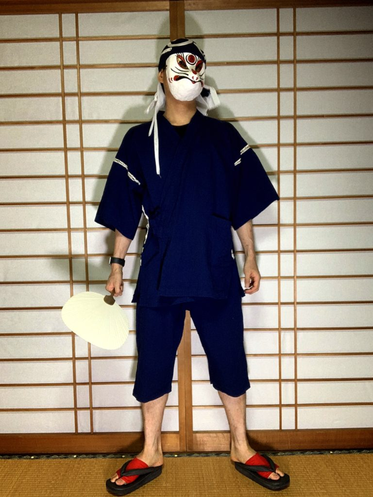男の和服,メンズ着物,狐面,日本,裏着物,和,文化,四国