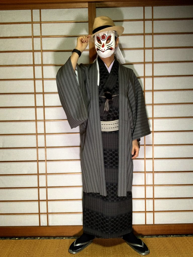 男の和服,メンズ着物,狐面,日本,裏着物,和,文化,川床