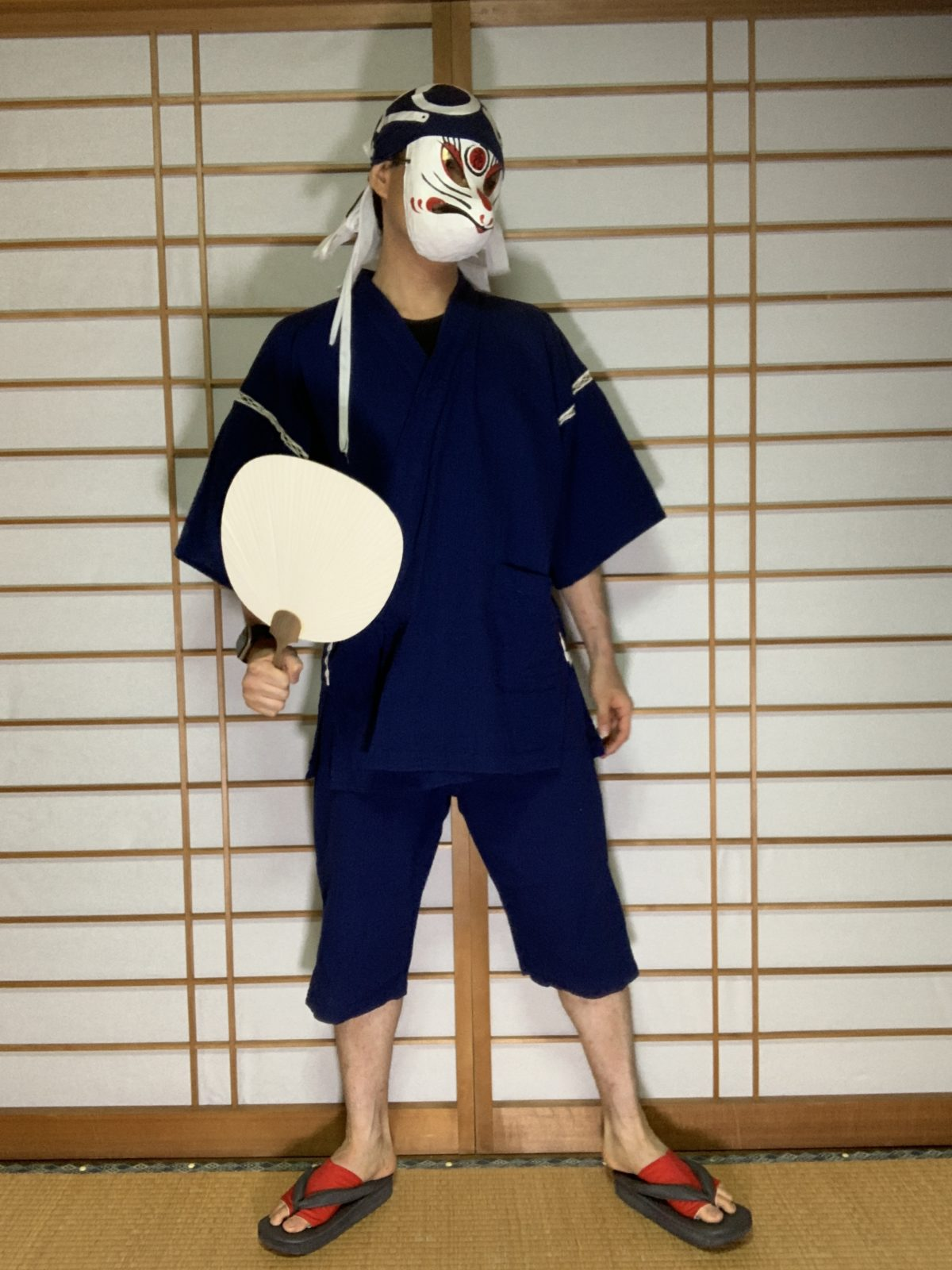 男の和服,メンズ着物,狐面,日本,裏着物,和,文化,作務衣,甚平