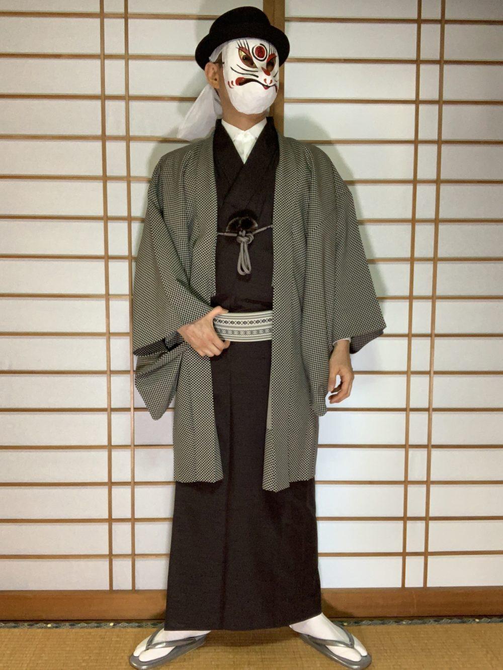 男の和服,メンズ着物,狐面,日本,裏着物,和,文化,落語,