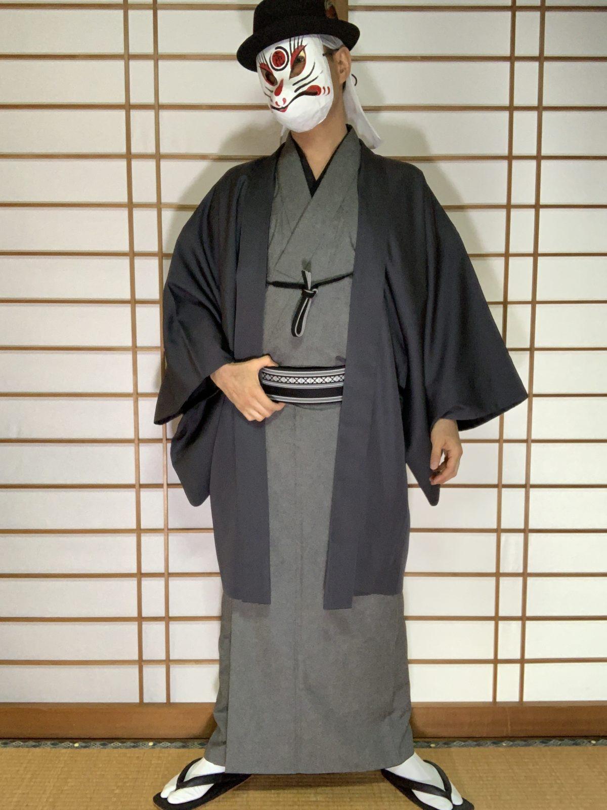 男の和服,メンズ着物,狐面,日本,裏着物,和,文化,和食,
