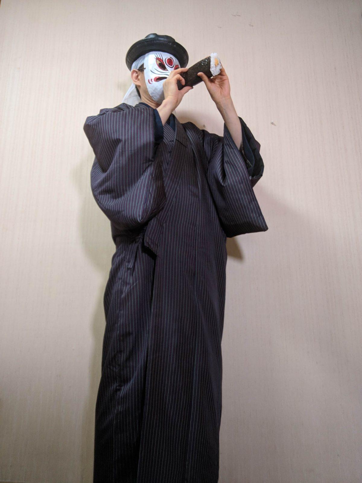 男の和服,メンズ着物,狐面,日本,裏着物,和,文化,節分,恵方巻,豆まき