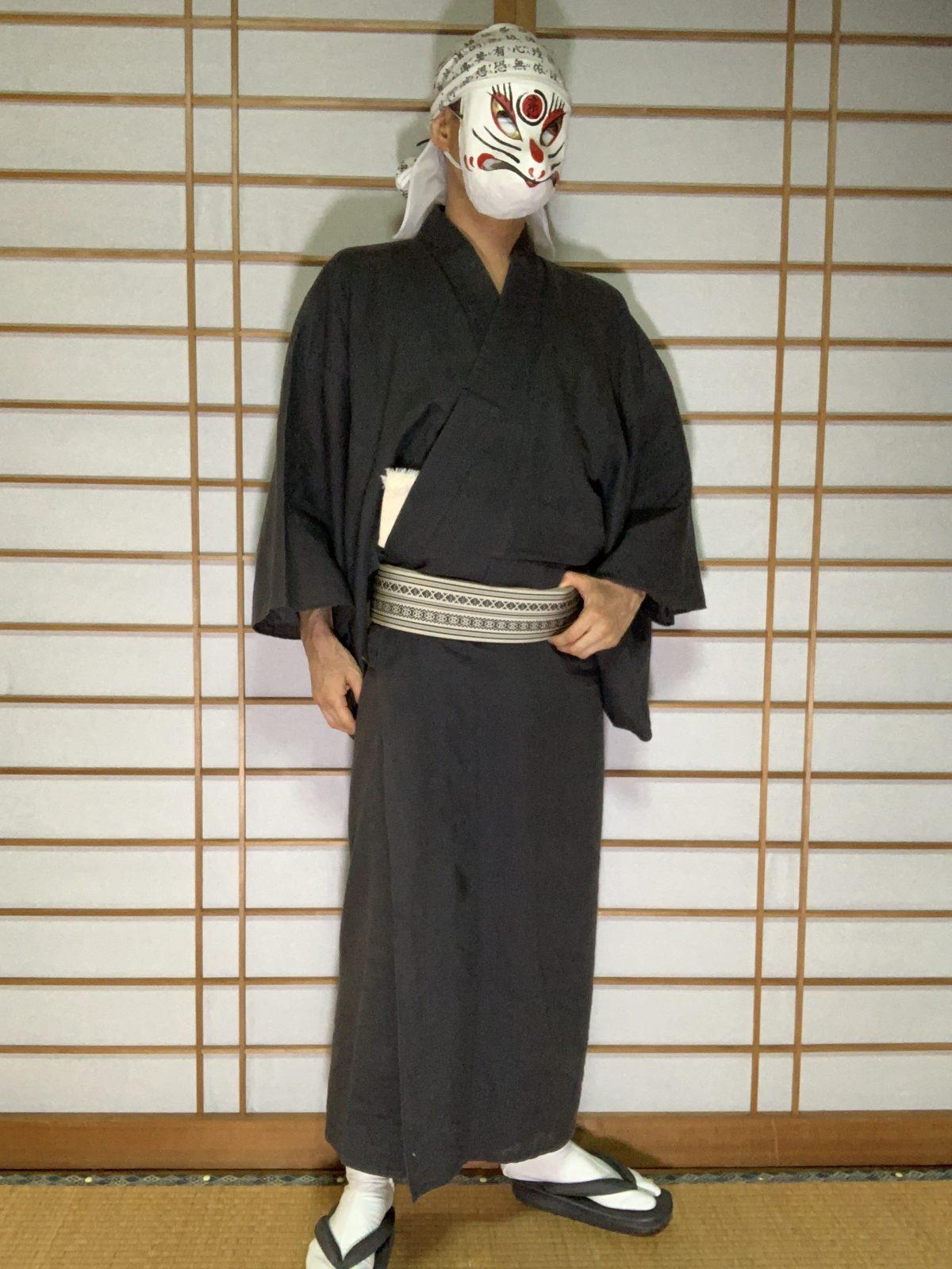 男の和服,メンズ着物,狐面,日本,裏着物,和,文化,十五夜,