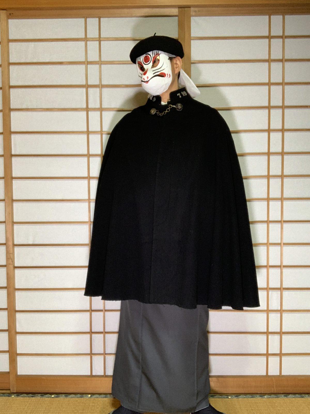 男の和服,メンズ着物,狐面,日本,裏着物,和,文化,コート,