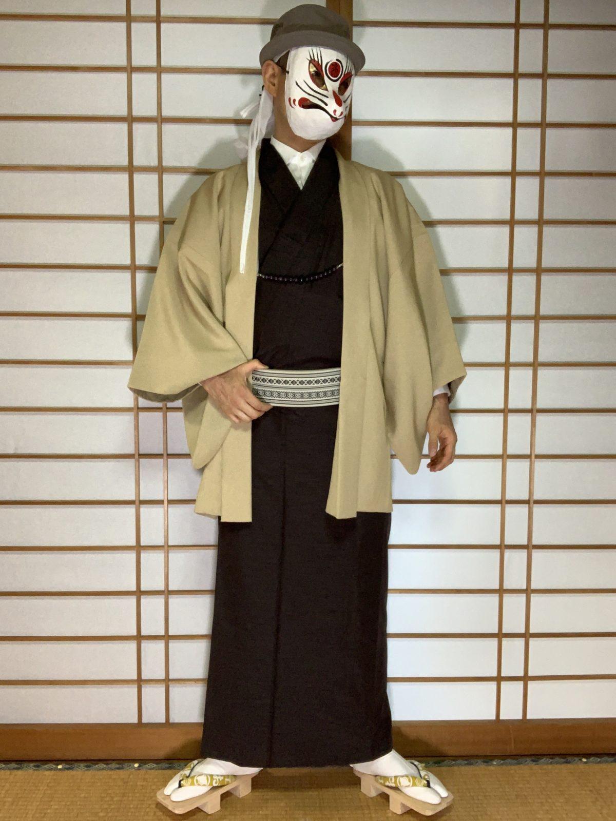男の和服,メンズ着物,狐面,日本,裏着物,和,文化,盆栽,