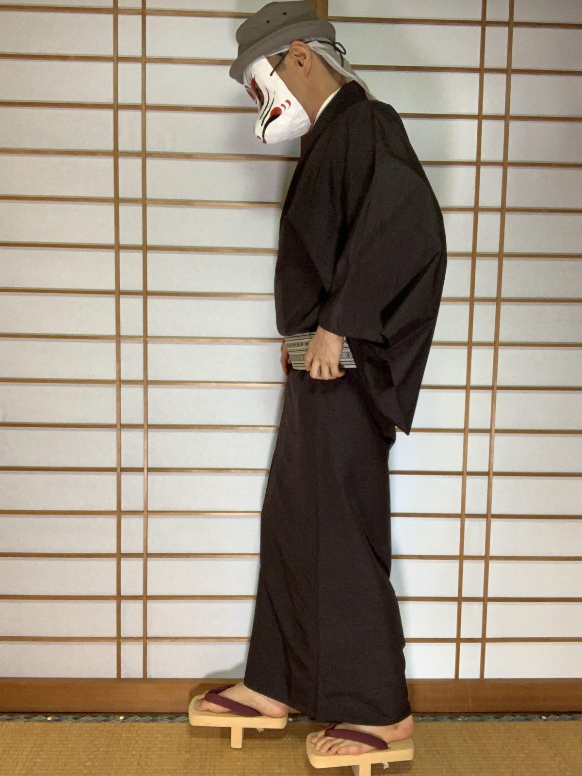 男の和服,メンズ着物,狐面,日本,裏着物,和,文化,フィットネス,