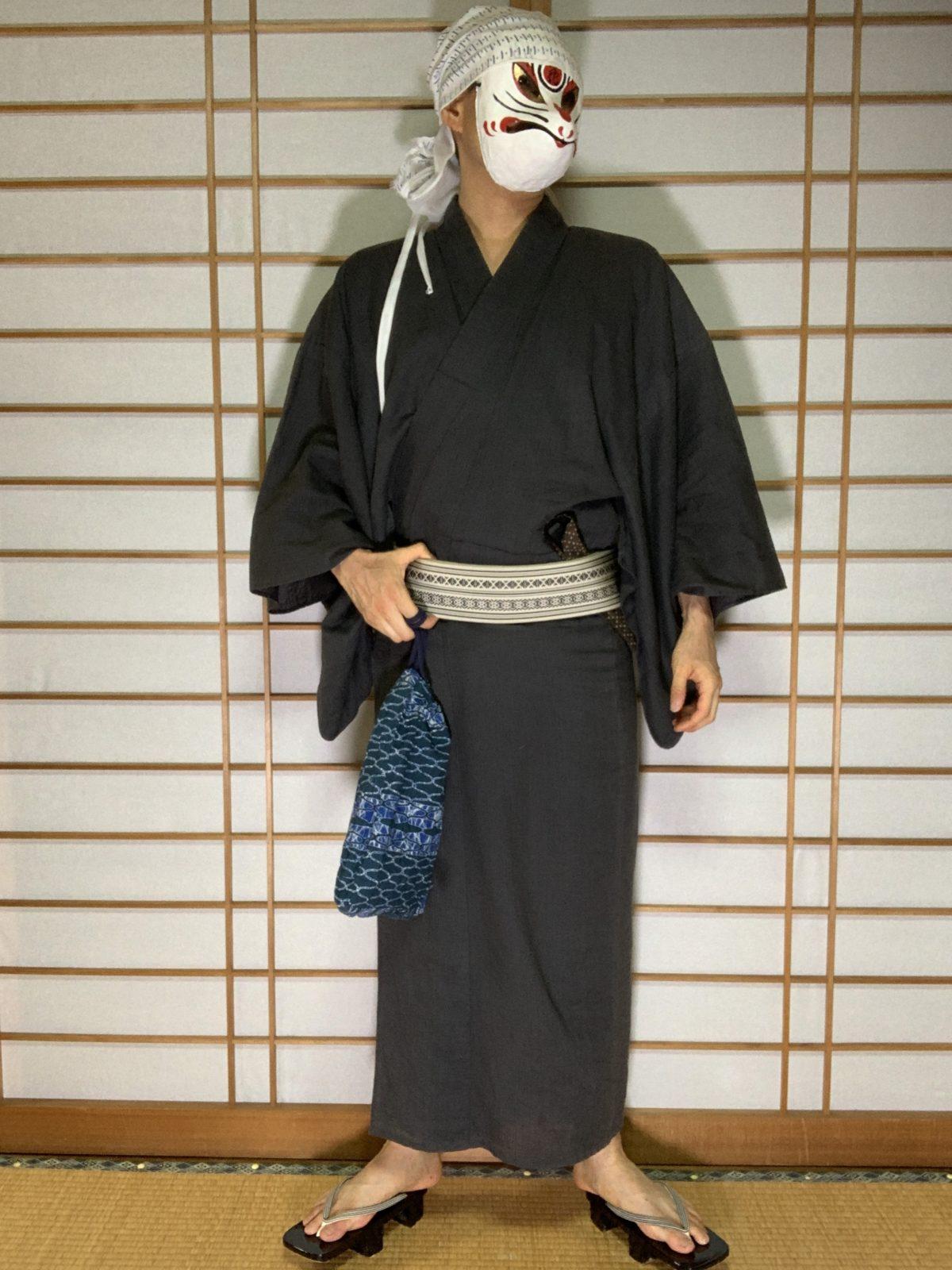 男の和服,メンズ着物,狐面,日本,裏着物,和,文化,七夕,