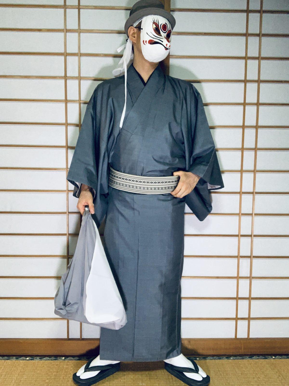男の和服,メンズ着物,狐面,日本,裏着物,和,文化,風呂敷,