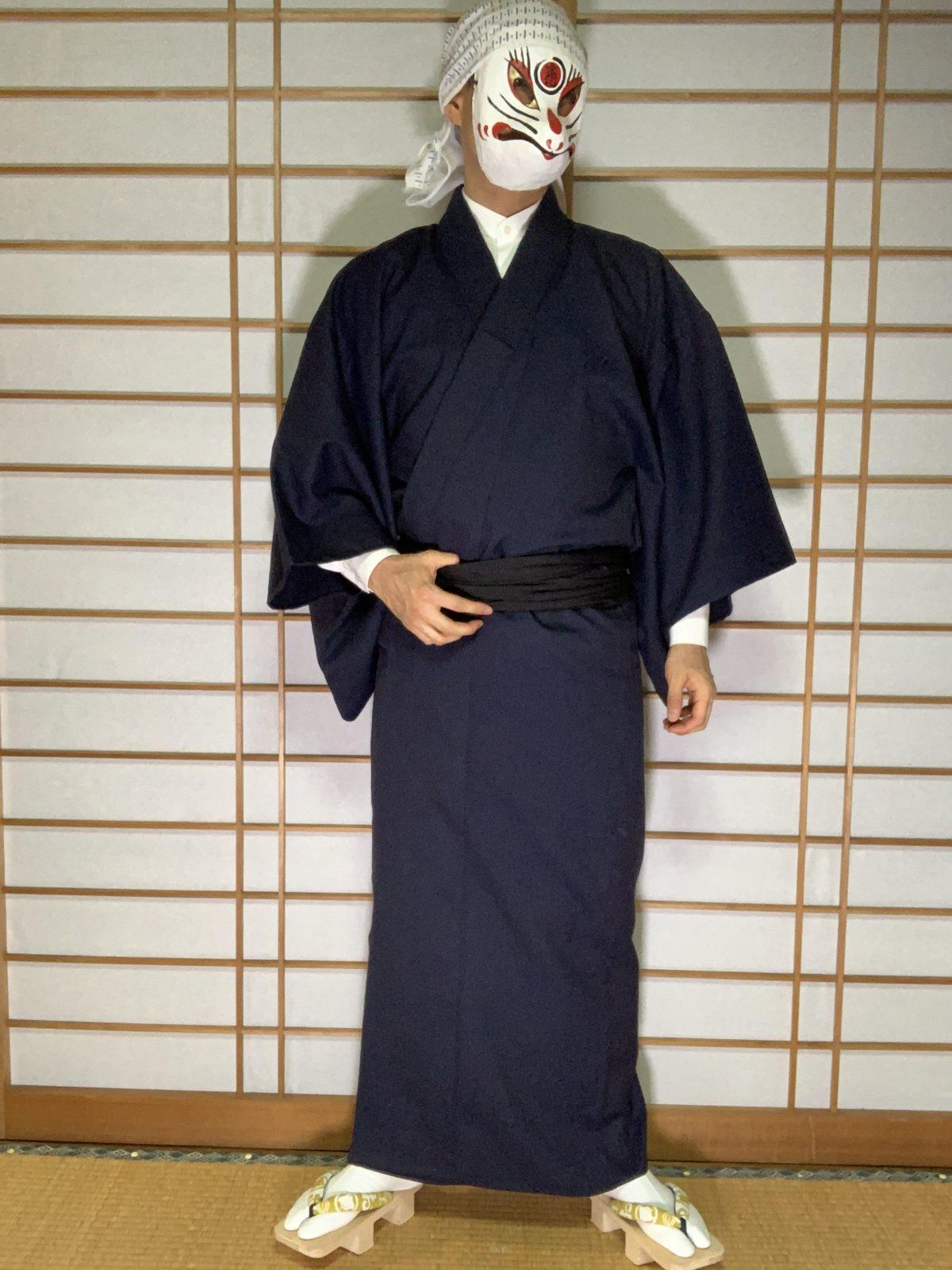 男の和服,メンズ着物,狐面,日本,裏着物,和,文化,日本酒,