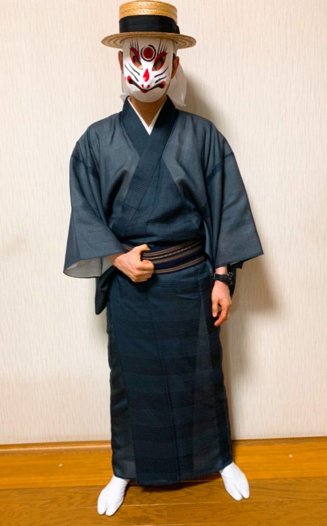 男の和服,メンズ着物,狐面,日本,裏着物,和,文化,相撲,土俵,
