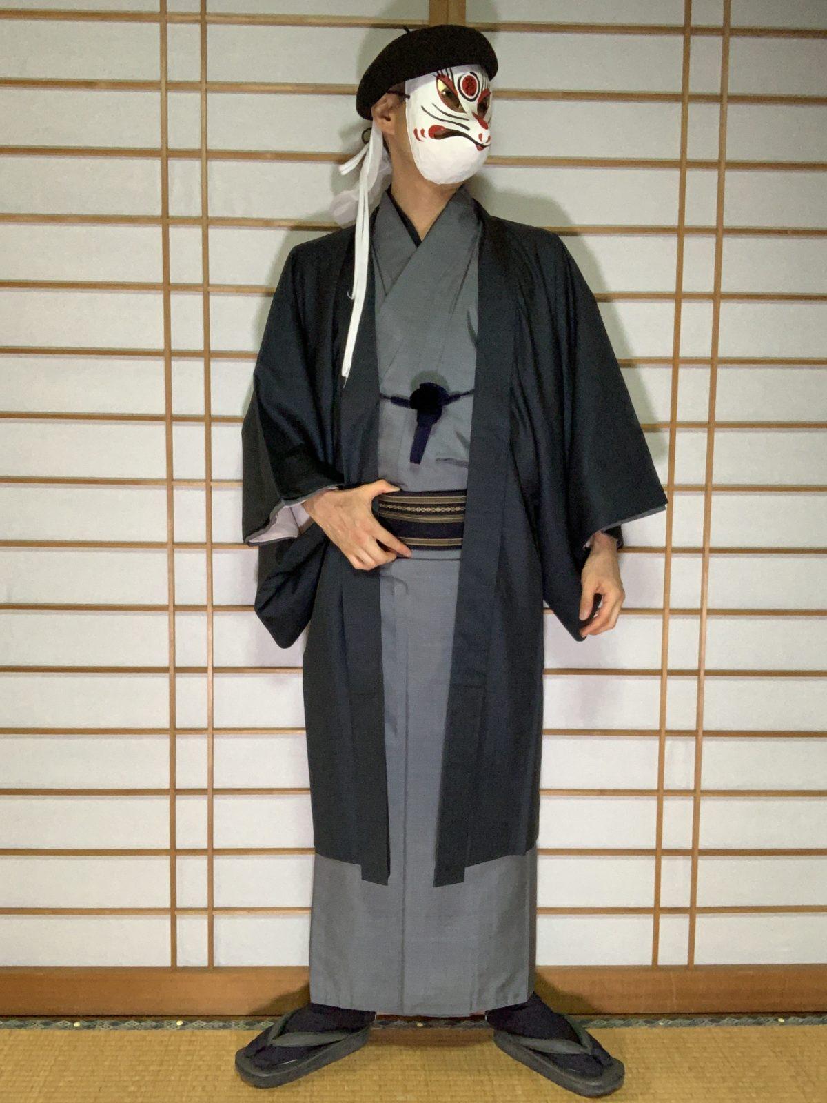 男の和服,メンズ着物,狐面,日本,裏着物,和,文化,旅館,